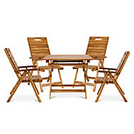 Denia Wooden 4 seater Dining set with Recliner chairs