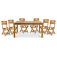 Denia Wooden 6 seater Dining set with 6 standard chairs