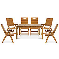 Denia Wooden 6 seater Dining set with 6 recliner chairs