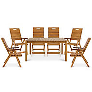 Denia Wooden 6 seater Dining set with Recliner chairs