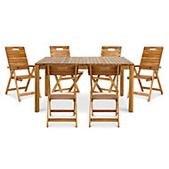 Denia Wooden 6 seater Dining set with 2 recliner & 4 standard chairs