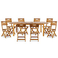 Denia Wooden 8 seater Dining set with Standard chairs