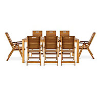 Denia Wooden 8 seater Dining set with Recliner chairs