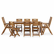 Denia Wooden 8 seater Dining set with 2 recliner & 6 standard chairs