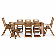 Denia Wooden 8 seater Dining set with Recliner & standard chairs