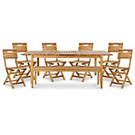 Denia Wooden 8 seater Dining set with Bench & standard chairs