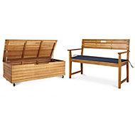 Denia 2 seater Bench & storage box set