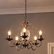 Bora Antique brass effect 5 Lamp Pineapple Ceiling light