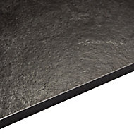 12.5mm Exilis Zinc Argente Black Textured Stone Effect Square edge Laminate Worktop (L)3.02m (D)610mm