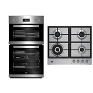 Beko Stainless steel Double Multifunction Oven & gas hob pack
