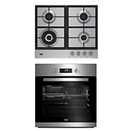 Beko Stainless steel Single Multifunction Oven & gas hob pack