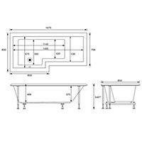 Cooke & Lewis Adelphi LH Acrylic & glass L shaped Shower Bath, panel, screen & 12 jet air spa (L)1675mm (W)850mm