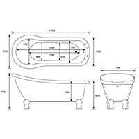 Cooke & Lewis Duchess Slipper Freestanding Bath (L)1700mm (W)630mm