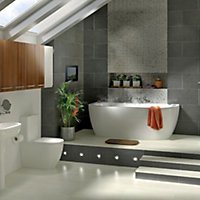 Cooke & Lewis Helena Oval Curved Bath, panel & wellness system (L)1700mm (W)800mm