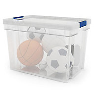 Xago Heavy duty Clear 24L Plastic Medium Stackable Storage box & lid
