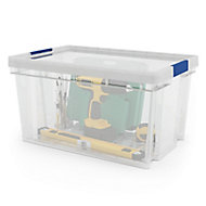 Xago Heavy duty Clear 51L Plastic Large Stackable Storage box & lid