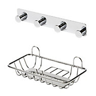 GoodHome Koros Chrome plated Steel Soap dish & hook