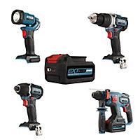 Erbauer EXT 18V 5Ah Li-ion Cordless 4 piece Power tool kit