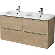 GoodHome Imandra Oak effect Vanity unit & basin, (W)1204mm