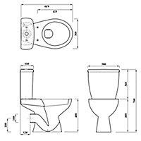 Plumbsure Bodmin Open back close coupled Toilet & full pedestal basin