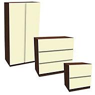 Darwin Gloss cream walnut effect Bedroom furniture set