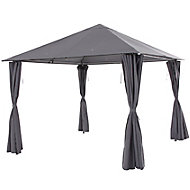 Blooma Shamal Grey Rectangular Gazebo, (W)3m