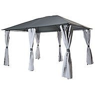 Blooma Barnum Grey Gazebo, (W)3m (D)4m