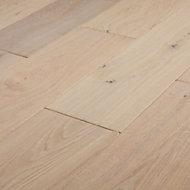 GoodHome Agung Vintage grey Wood effect Oak Real wood top layer flooring Pack, Sample