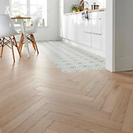 GoodHome Eslov Natural Wood effect Oak Real wood top layer flooring Pack, Sample