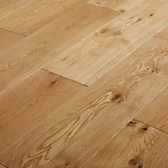 GoodHome Ystad Natural Oak Solid wood flooring Pack, Sample
