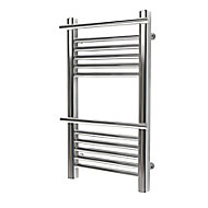 GoodHome Solna 181W Chrome plated Towel warmer (H)700mm (W)400mm