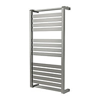 GoodHome Loreto 546W Grey Towel warmer (H)1000mm (W)500mm