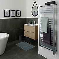 GoodHome Loreto 679W Grey Towel warmer (H)1300mm (W)500mm