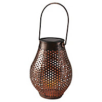 Copper effect Solar-powered LED Outdoor Hanging lantern
