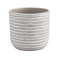 Glazed Griffin Clay Striped Plant pot (Dia)12cm