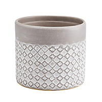 Glazed Driftwood Clay Diamond Plant pot (Dia)12.5cm