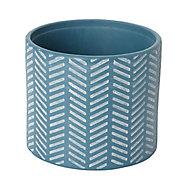 Glazed Blue coral Clay Herringbone Plant pot (Dia)16cm
