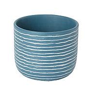 Glazed Blue coral Clay Striped Plant pot (Dia)20cm