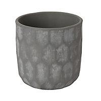 Grey Clay Honeycomb Plant pot (Dia)14.1cm