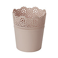 Peach whip Plastic Lace Plant pot (Dia)13.7cm