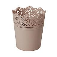 White Plastic Lace Plant pot (Dia)18cm