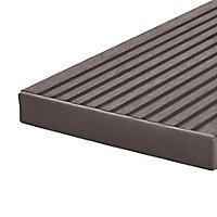 GoodHome Neva Polyethylene (PE) Deck finishing end cap Chocolate (L) 145mm (W) 21mm, Pack of 10