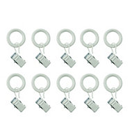 GoodHome Anafi White Curtain ring (Dia)19mm, Pack of 10