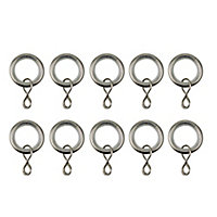 GoodHome Nisis Brushed nickel effect Curtain ring (Dia)10mm, Pack of 10
