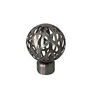 GoodHome Athens Brushed nickel effect Metal Nest-wired Curtain pole finial (Dia)28mm