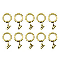 GoodHome Elasa Brass effect Curtain ring (Dia)19mm, Pack of 10
