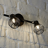 Akiak Matt Black Mains-powered 2 lamp Spotlight