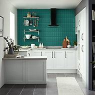 Trentie Dark green Gloss Ceramic Wall tile, Pack of 40, (L)200mm (W)100mm
