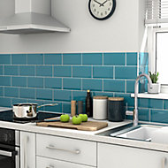 Trentie Turquoise Gloss Ceramic Wall tile, Pack of 40, (L)200mm (W)100mm