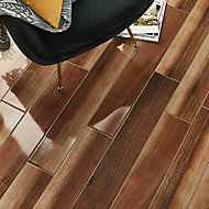 High gloss Walnut Gloss Wood effect Porcelain Floor Tile Sample